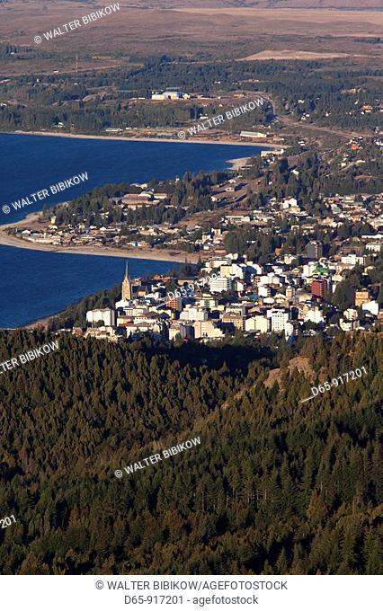 Town view from Cerro Otto hill, San Carlos de Bariloche, Lake District, Rio Negro Province, Argentina