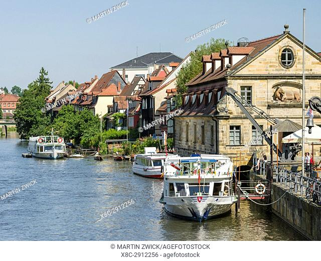 Old fishermen s houses on the river Regnitz, a quarter called Little Venice (Klein Venedig). Bamberg in Franconia, a part of Bavaria