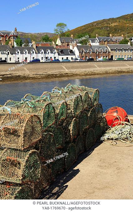 Ullapool, Ross and Cromarty, Highland, Scotland, UK, Britain, Europe  Lobster pots on the quayside in fishing harbour on Loch Broom on north west highlands...