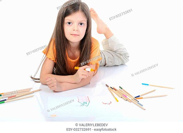 beautiful girl draws pencils. Isolated on white background