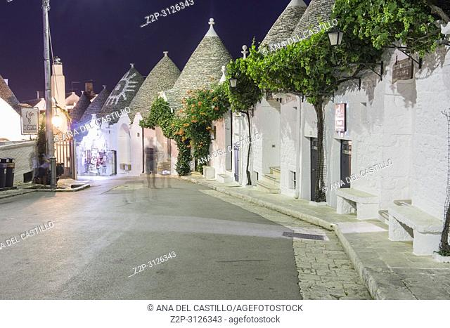 Alberobello by evening on July 13, 2018 in Bari Puglia Italy