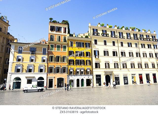 Building facades in Piazza di Spagna - Rome, Italy