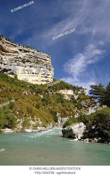 The Cliffs at the Point Sublime on the Verdon Gorge or Gorges du Verdon Alpes-de-Haute-Provence France