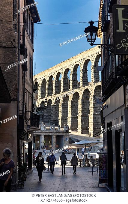 Segovia's 1st century Roman Aqueduct seen from Calle de San Francisco, Segovia, Spain
