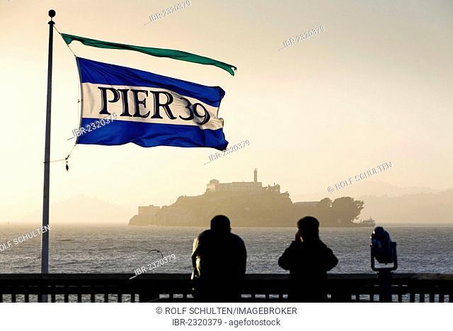 View from Pier 39, Fisherman's Wharf, to the former prison island of Alcatraz, San Francisco, California, USA, North America