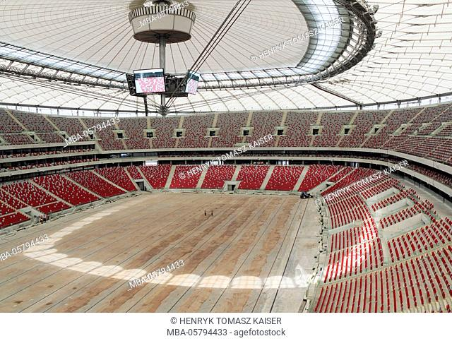 Empty National Stadium, (Stadion Narodowy) in Warsaw, Poland