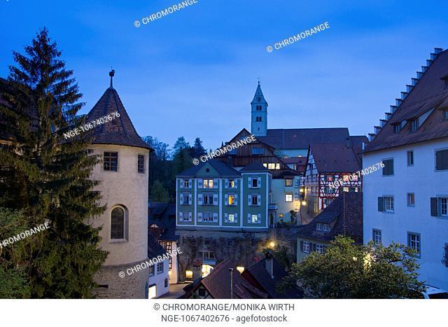 Meersburg in the evening light, Lake Constance, Baden-Wuerttemberg, Germany, Europe