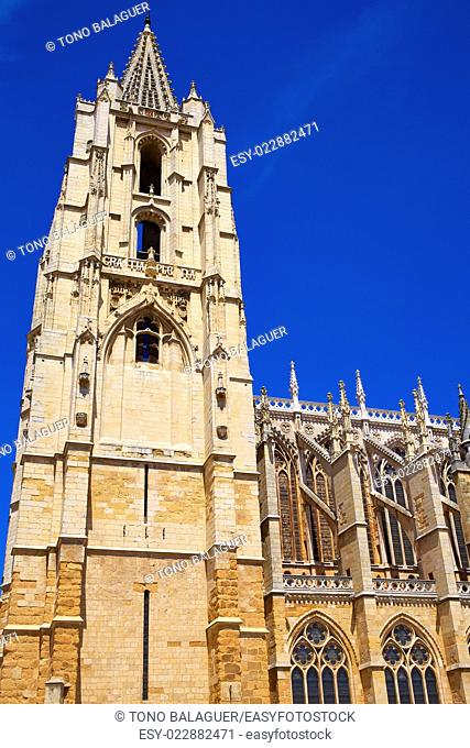 Cathedral of Leon side facade in Castilla at Spain