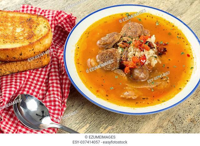 Sausage and rice tomato soup cajun gumbo