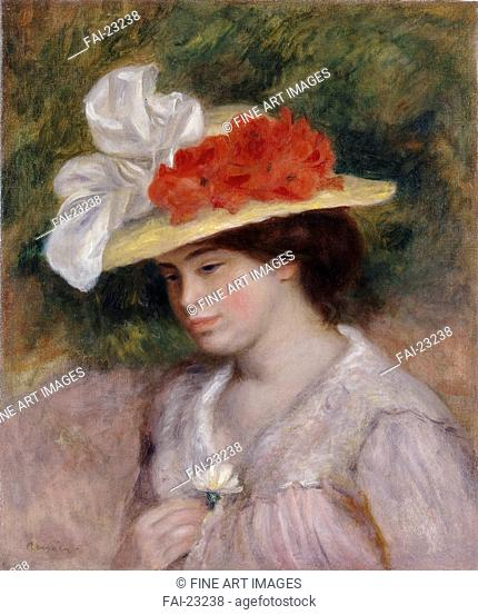 Woman in a Flowered Hat. Renoir, Pierre Auguste (1841-1919). Oil on canvas. Impressionism. 1889. France. Israel Museum, Jerusalem. 54,9x46