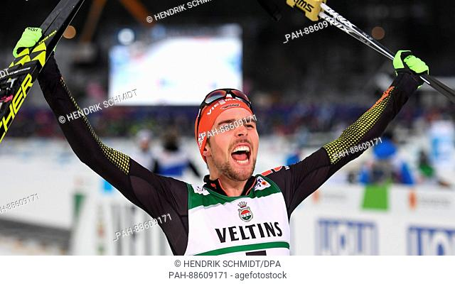 German Johannes Rydzek cheers his win at the Nordic Ski World Championship in Lahti, Finland, 01 March 2017. Photo: Hendrik Schmidt/dpa-Zentralbild/dpa | usage...