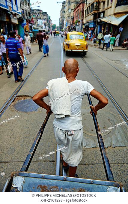 India, West Bengal, Kolkata, Calcutta, the last day of rikshaw of Kolkata, rickshaw on the street