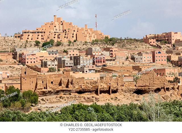 Boulmane, Morocco. Hotel Xaluca at top, Modern Apartments in Middle, Abandoned Traditional Houses at Bottom