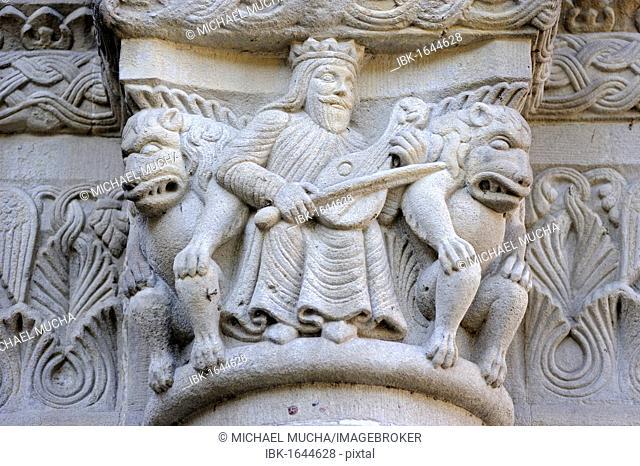 Architectural sculptures on the facade of the Grossmuenster church, Zurich, Switzerland, Europe
