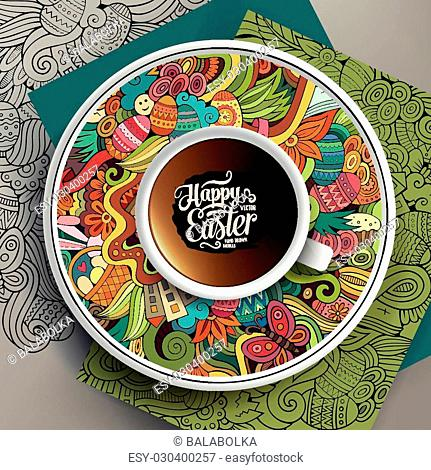 Cup of coffee and hand drawn Easter doodles on a saucer and background