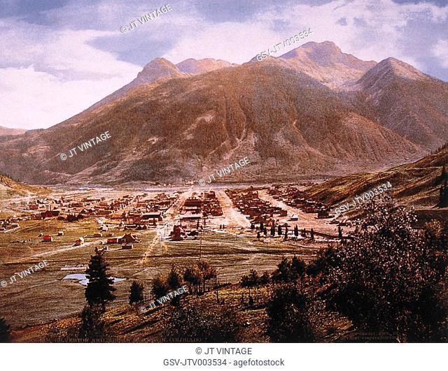 Silverton, Colorado, USA with Mountains in Background, circa 1900