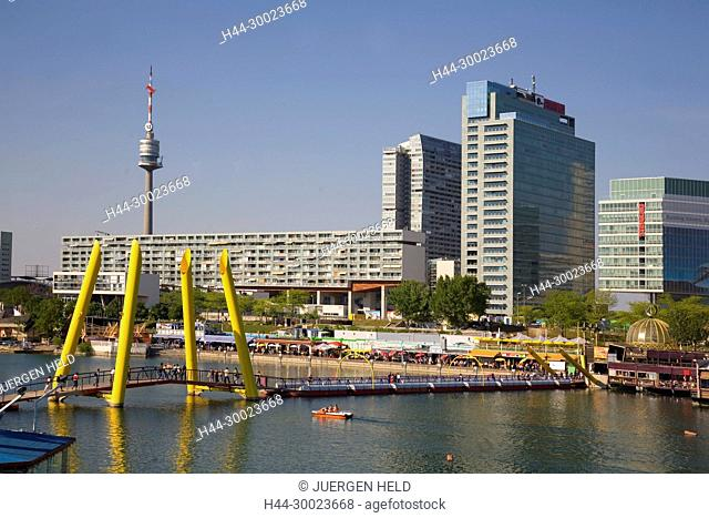 Vienna Donau Island footbridge Danube Island background UNO City