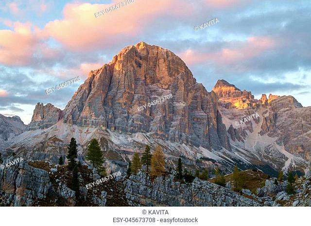 Autumn scene. Tofana in the Dolomite alps, Italy