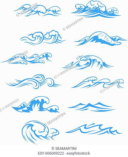 Ocean waves set isolated on white background