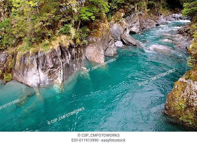 Blue pools near Haast Pass