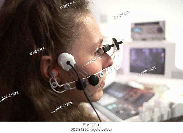 young afro-american woman having an EEG