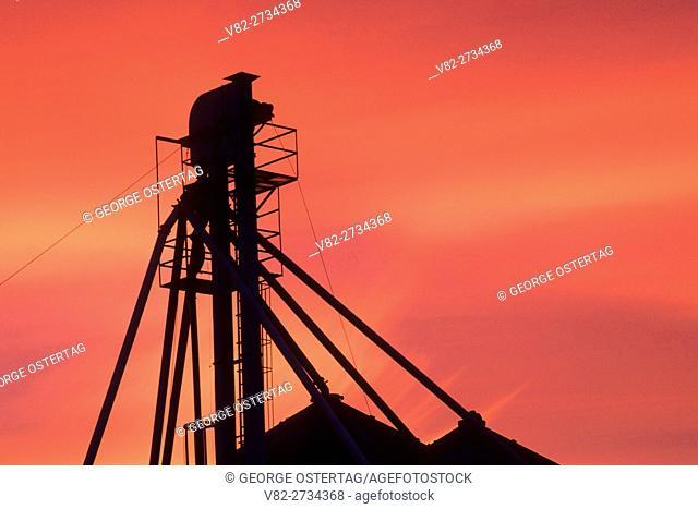 Grain elevator sunset, Culver, Jefferson County, Oregon