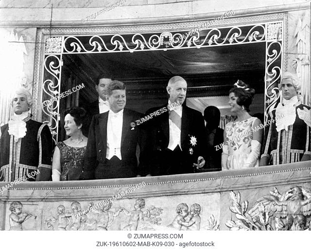 June 2, 1961 - Paris, France - In the box of the Versailles Royal Opera (L-R) Mme. DE GAULLE, President JOHN F. KENNEDY, General CHARLES DE GAULLE and...