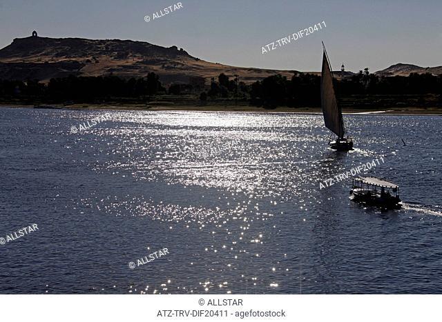 SAILING FELUCCA & FERRY; RIVER NILE, ASWAN, EGYPT; 11/01/2013