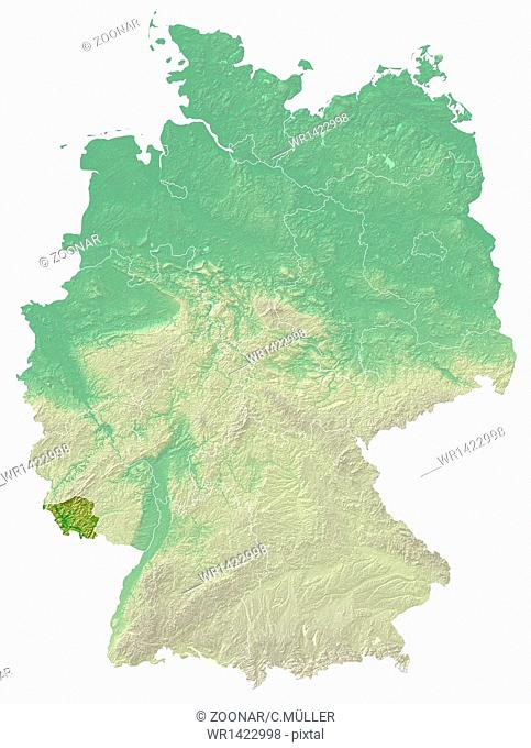 Saarland - topographical relief map Germany