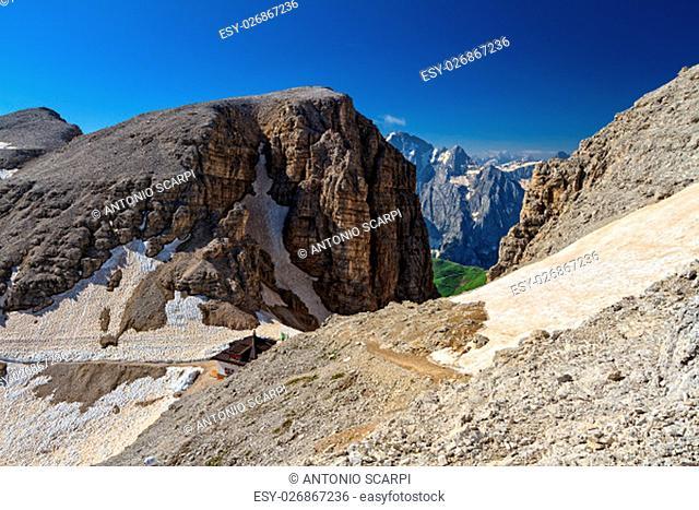 Dolomiti - Sass pordoi pass in Sella group, Trentino, Italy