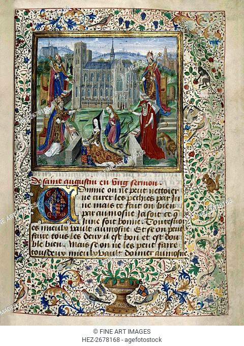 Margaret of York praying in front of the Cathedral of St. Gudula in Brussels, c. 1467-1469