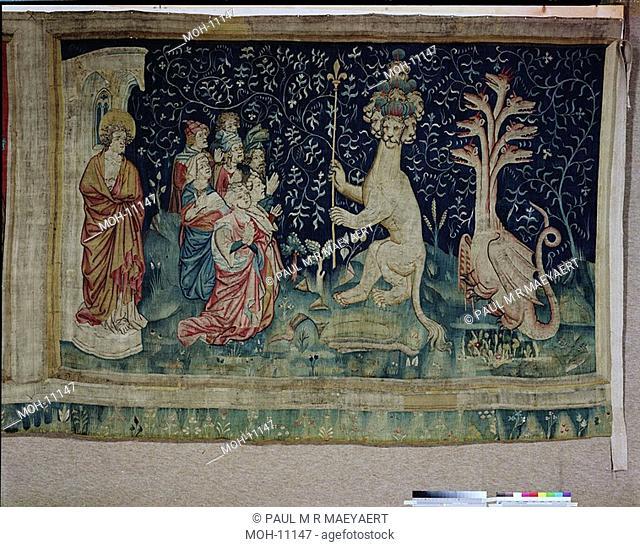 La Tenture de l'Apocalypse d'Angers, L'adoration de la Bête 1,54 x 2,56m, Anbetung des Tieres