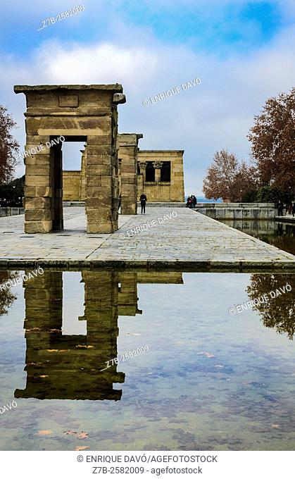 Some reflect sight in Debod temple, Madrid, Spain