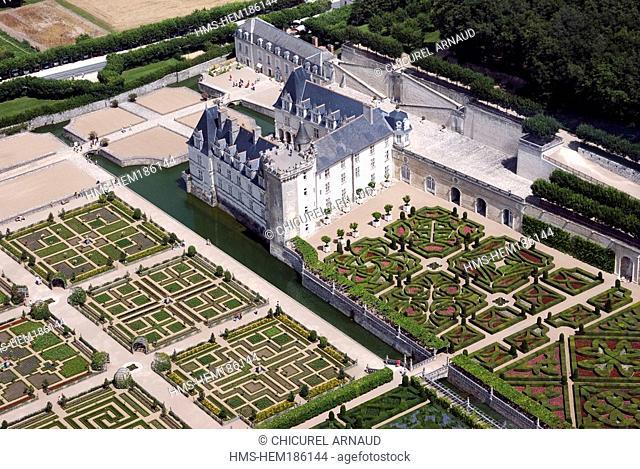 France, Indre et Loire, Villandry, Chateau de Villandry, castle and gardens aerial view