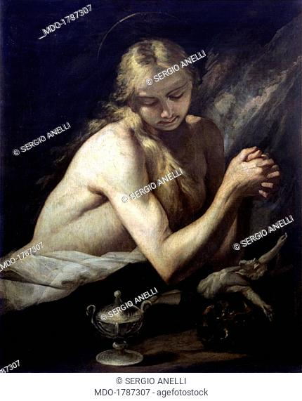 Penitent Magdalene, by Jusepe de Ribera also known as Spagnoletto, 1650, 17th Century, oil on canvas. Italy, Lombardy, Milan, Castello Sforzesco