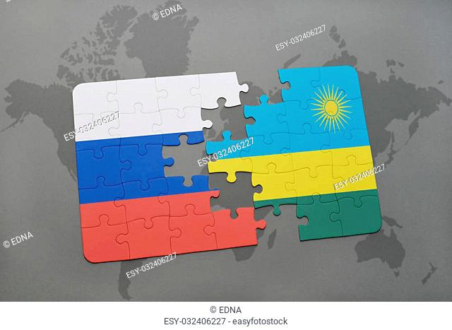 puzzle with the national flag of russia and rwanda on a world map background. 3D illustration