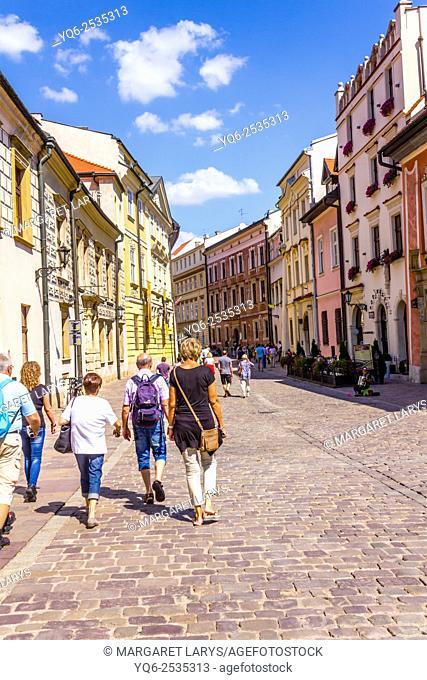 Tourists in Kanonicza street in Krakow, Poland