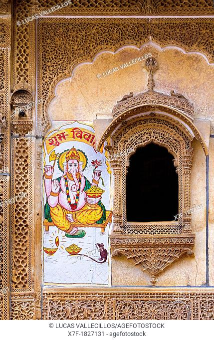 Wall painted with god Ganesh in Nathmal-ki Haveli, Jaisalmer,Rajasthan, India