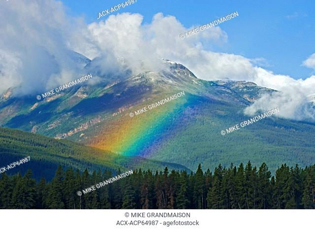 Rainbow and Canadian Rocky Mountains, Mount Robson Provincial Park, British Columbia, Canada