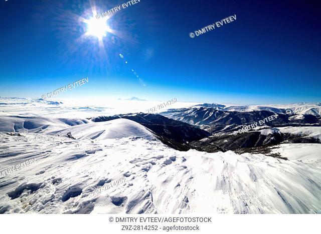 Ararat view from Tzakhkadzor mountain Teghenis in Winter