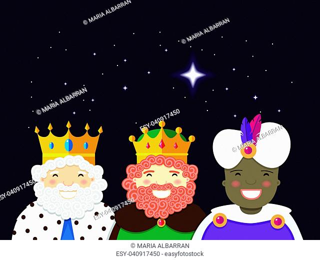 The Three Kings with christmas star. Epiphany day. Vector Illustration