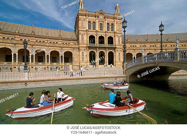 Plaza de España and boats, Seville, Spain