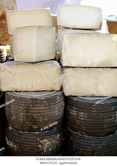 Cheeses for sale. Fira Avícola Raça Prat, El Prat de Llobregat, Barcelona province, Catalonia, Spain