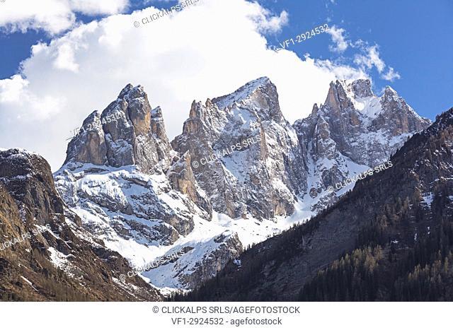 Europe, Italy, Veneto, Falcade. Focobon peaks, Pale di San Martino north east side, Dolomites