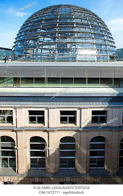 Reichstag, Bundestag glass dome German Parlement since 1999 by the architect Sir Norman Foster, Berlin, Germany