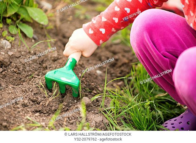 Close up of young child in garden helping with plants and flowers, digging in the soil