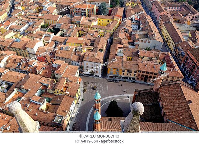 View of Cremona from the Torrazzo, the bell tower of the Cathedral of Cremona, Lombardy, Italy, Europe