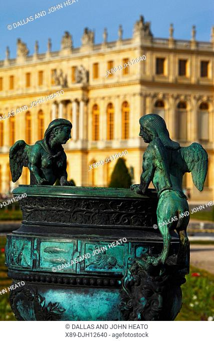 France, Versailles, Château de Versailles, Palace Gardens, Sculptured Vases, Statue of Mythical Flying Figures