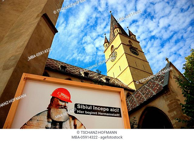 Bilingual roadworks sign. Here begins Hermannstadt. In the Protestant church in the old town of Sibiu, Romania