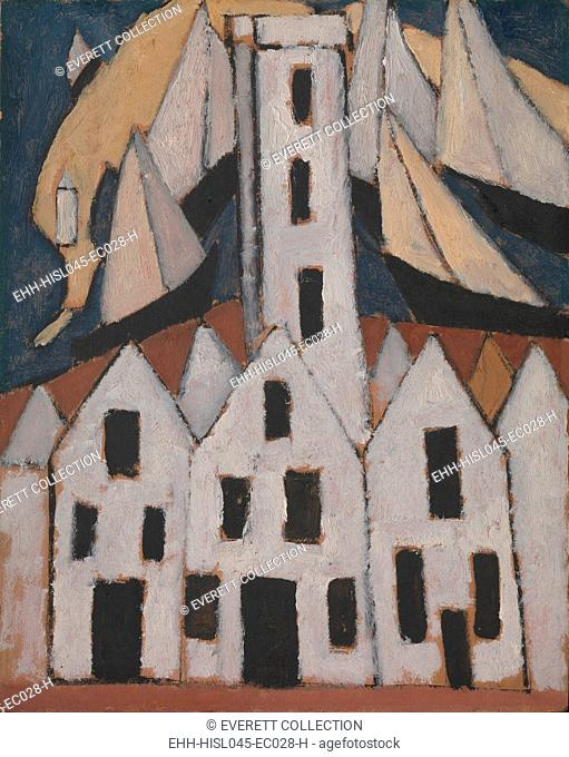 MOVEMENT NO. 5, PROVINCETOWN HOUSES, by Marsden Hartley, 1916, American oil painting. Hartley painted several houses, sailboats
